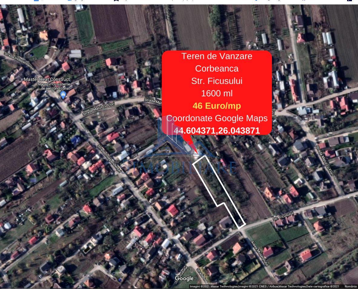 Corbeanca - Teren de Vanzare, Str. Fiscului  1600 mp, 45 euro/mp